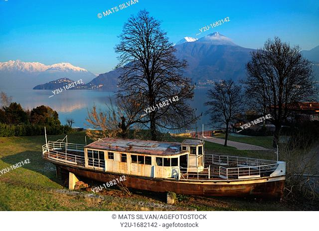 Old passenger ship on the field and trees with branches and alpine lake with snow-capped mountains