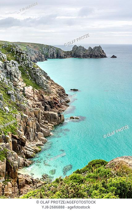 View over the coastline near Porthcurno, Cornwall, England, UK