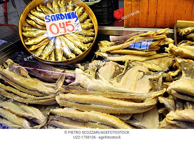 Valencia, Spain: dry sardines and cod fish sold the Mercado Central