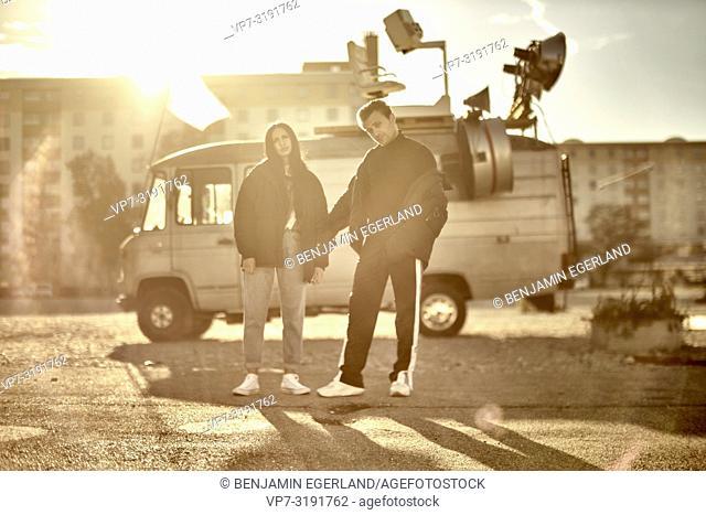 couple in front of camper van, fashion Blogger Adem Bayalan and Emine Feruz Bayalan, in Munich, Germany