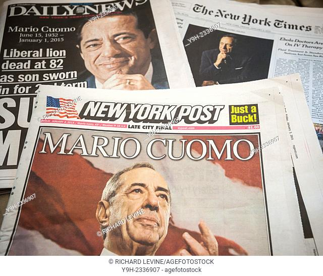 National and local newspapers in New York on Friday, January 2, 2015 report on previous days death of former New York State Gov