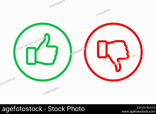 Green Thumbs up and red Thumbs down line icons inside rings isolated on white background. Vector design elements
