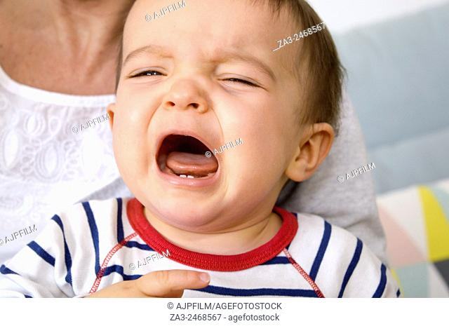 One year old boy crying