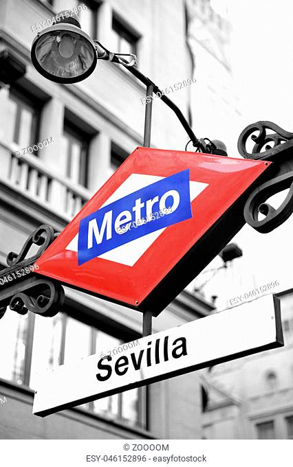 Metro sign in Madrid, Sevilla station. Partly black and white image