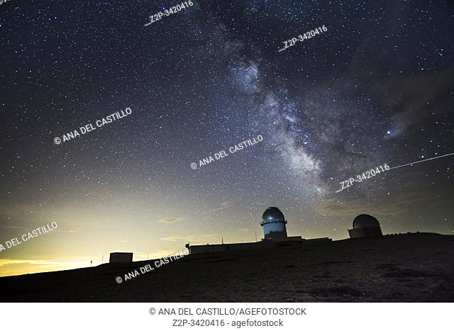 Arcos de las Salina Teruel Aragon Spain on August 2019: Milky way in the astronomical observatory of Javalambre for shooting the milky way and stars in a summer...