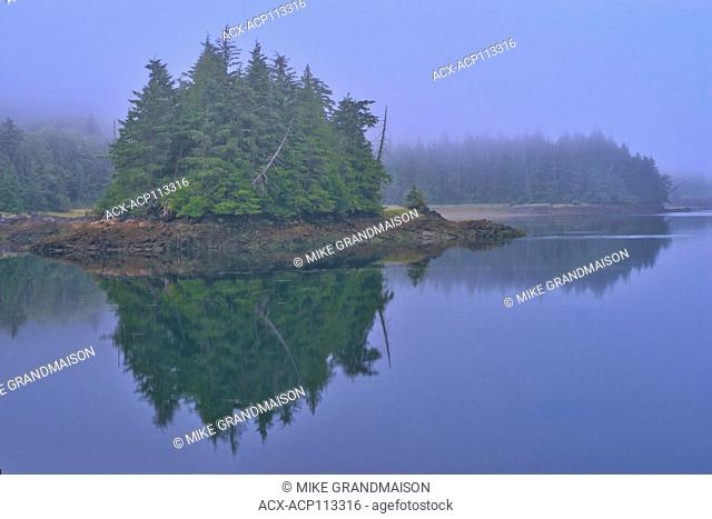 Looking towards Kaien Island, Fog at dawn., Prince Rupert, British Columbia, Canada
