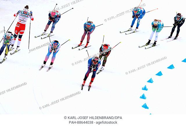 The first group of athletes in action during the women's 4x5 km cross-country relay event at the Nordic Ski World Championship in Lahti, Finland, 2 March 2017