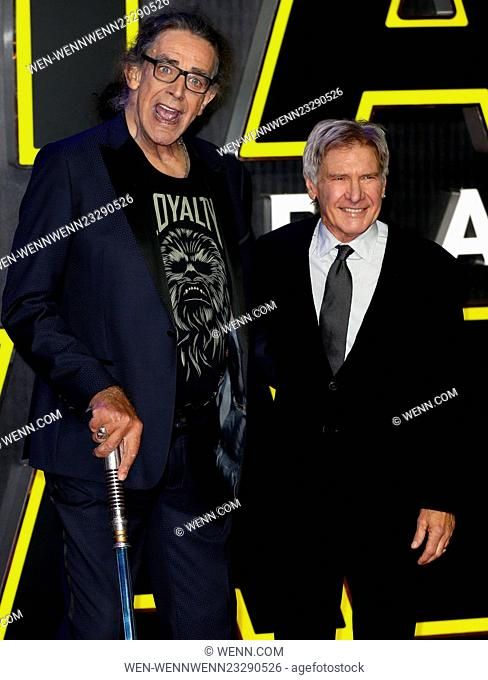 'Star Wars: The Force Awakens' European film premiere Featuring: Peter Mayhew, Harrison Ford Where: London, United Kingdom When: 16 Dec 2015 Credit: WENN