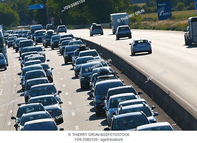 France, Orleans, motorway A10, Sunday 25/8/19 at West of town, recurent traffic jam at the return of summer vacation