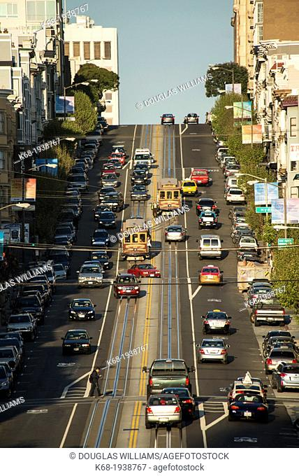 Cable cars on California street looking toward Nob Hill, San Francisco, California, USA