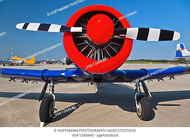 Head-on view of a Harvard T6 airplane, Germany, Europe