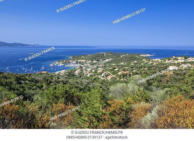 France, Corse-du Sud (2A), Taravo region, Mare e Monti Sud hiking trail, between Porto Pollo and Coti-Chiavari, view over Porto Pollo and the Gulf of Valinco