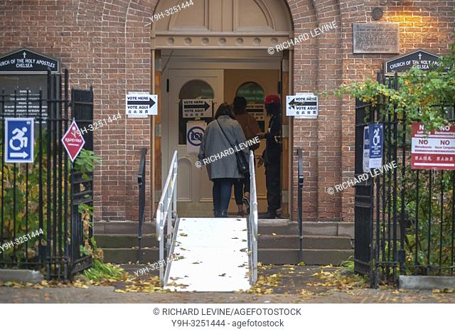 Voters enter the Church of the Holy Apostles polling station in the Chelsea neighborhood of New York on Election Day, Tuesday, November 6, 2018