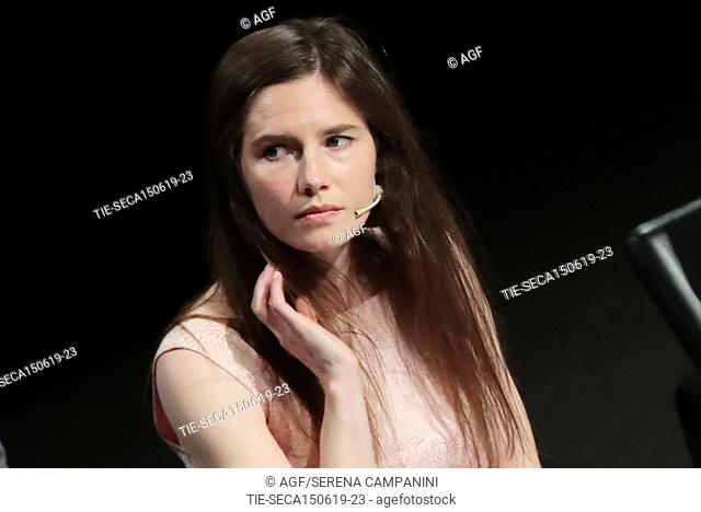 Amanda Knox attend the conference of the Criminal Justice Festival at the University of Modena, Italy 15 Jun 2019