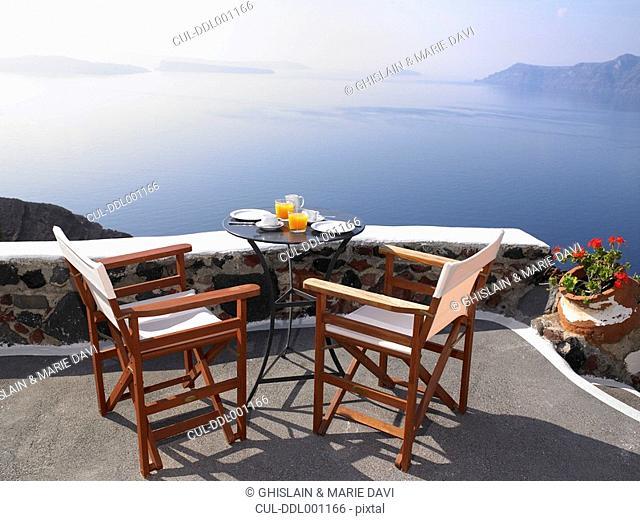 Breakfast set up, sea view