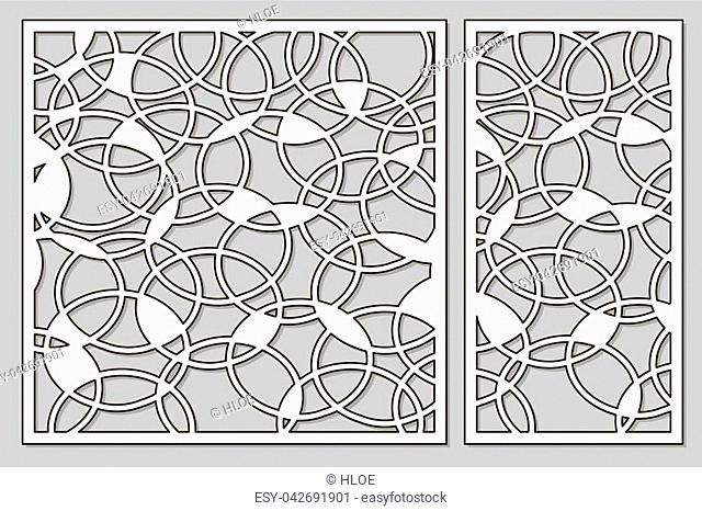 Template for cutting. Abstract circle pattern. Laser cut. Set ratio 1:1, 1:2. Vector illustration