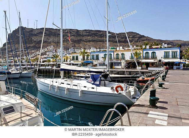 Sailing yacht in the harbour of Puerto Mogan, Gran Canaria, Canary Islands, Spain, Europe, PublicGround