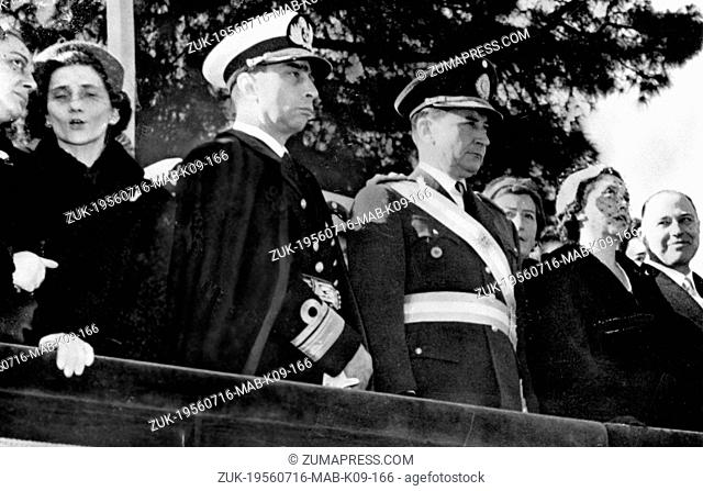 July 16, 1956 - Buenos Aires, Argentina - President PEDRO EUGENIO ARAMBURU of Argentina, and his wife, Mrs. SARA HERRERA (R) seen during the military parade in...