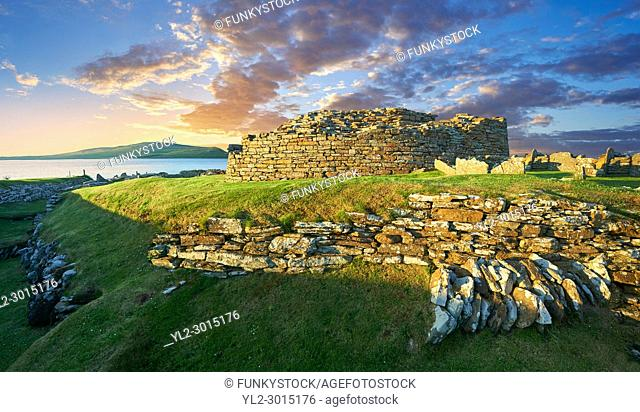 The Broch of Gurness is a rare example of a well preserved brooch village. Dating from 500 to 200BC the central round tower probably reached 10 meters