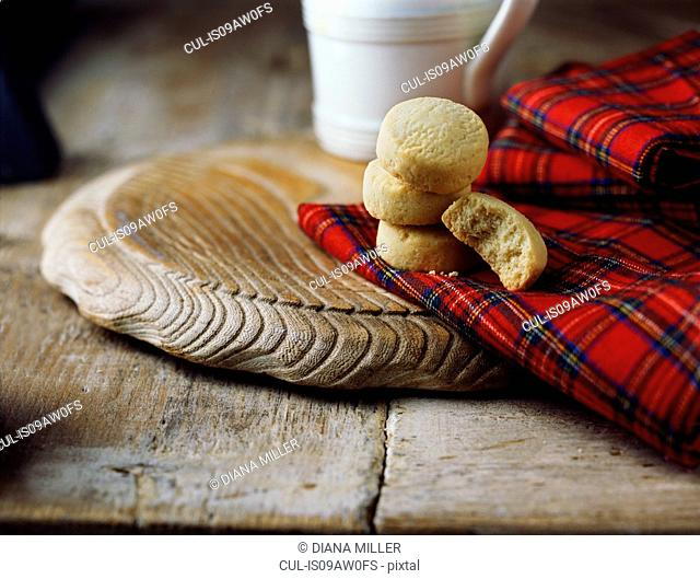 Luxury Scottish all butter shortbread rounds on tartan tea towel