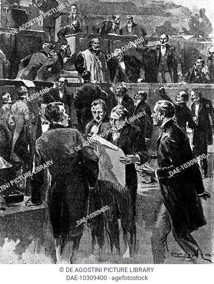 Some representatives of the Right wing of the Assembly of Bordeaux prevent Giuseppe Garibaldi from speaking. France, 19th century