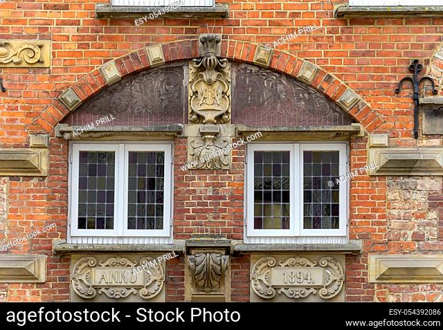 historic architectural detail seen in Oldenburg, a independent city in Lower Saxony, Germany