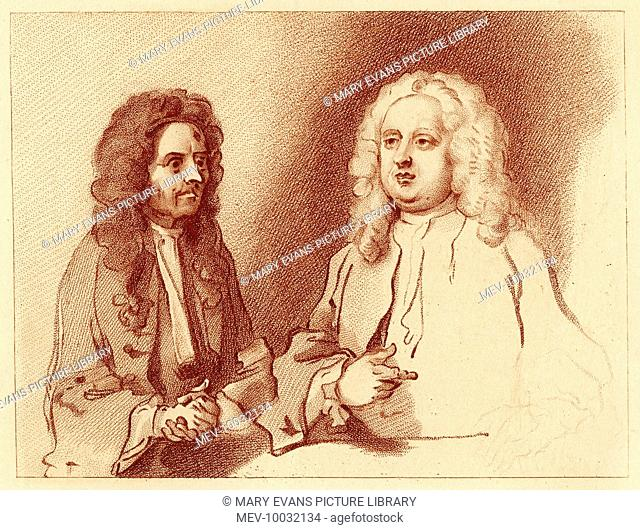 Dr Misaubin and Dr Joshua Ward, two notorious quack doctors of the day, caricatured by Hogarth in 'The Harlot's Progress' (for which this is a study)