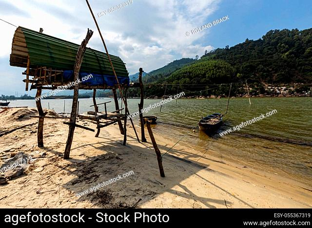 Fishing net in the lagoon of Lang Co in Vietnam