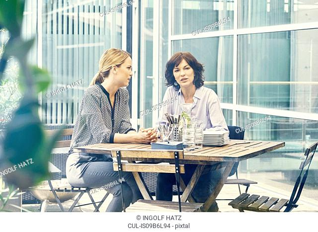 Two businesswomen having discussion during business lunch outside office