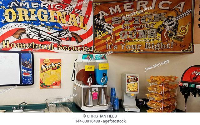 North America, USA, Montana, Gas station interior