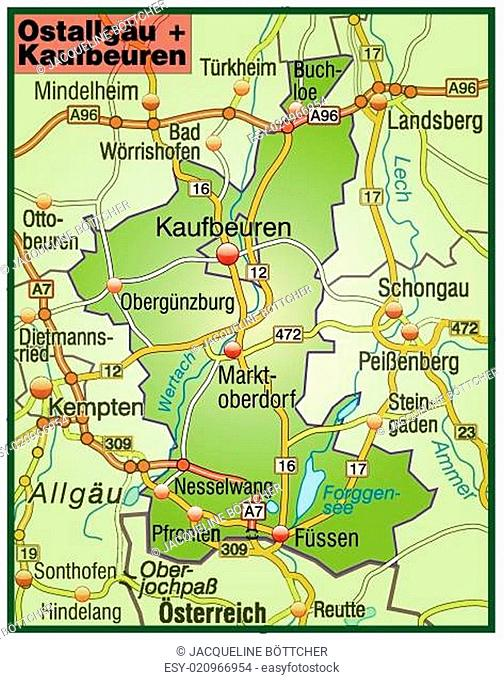 Map Of Ostallgaeu Kaufbeuren Stock Photos And Images Agefotostock