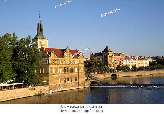 Smetana Quay at Moldau river, Czech Republic, Prague