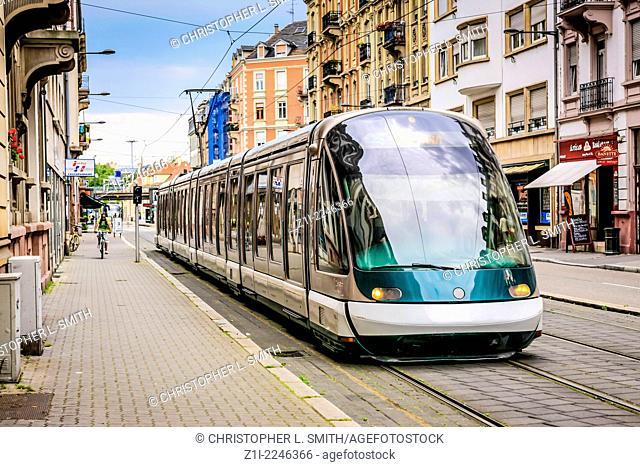 Modern trams in the city of Strasbourg in France