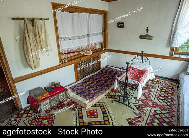A bedroom at the Ethnographic Museum in Gjirokastra, a town in southern Albania