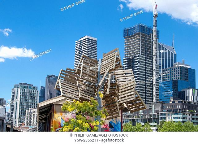 Pallet tree sculpture at Queen Victoria Market, Melbourne, Australia