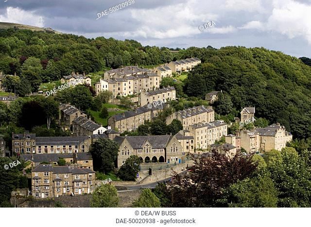 Aereal view of the textile industry center at Hebden Bridge - West Yorkshire, England, United Kingdom