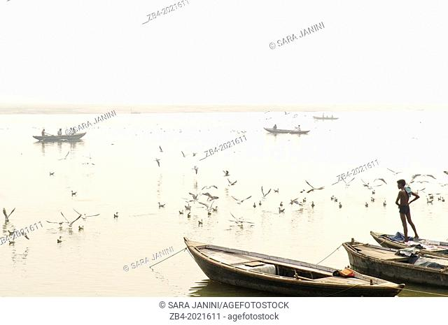 Boats on the Ganges river, Varanasi, Benares, Uttar Pradesh, India, Asia