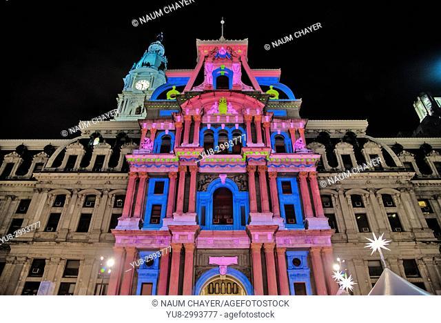 Deck the Hall Light Show at City Hall, Holiday Lights in Philadelphia , Pennsylvania, USA
