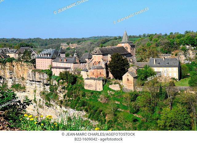 The village of Bozouls, built around the astonishing 100 metres deep and 400 metres wide canyon, le Trou de Bozouls, dominated by the Romanesque Sainte Fauste...