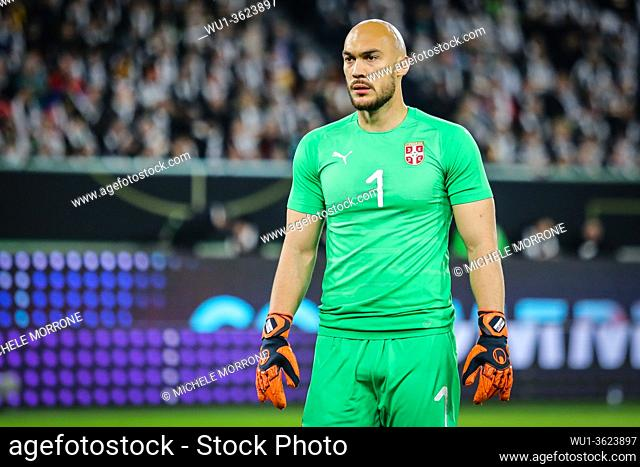 Wolfsburg, Germany, March 20, 2019: Serbia national team goalkeeper Marko Dmitrovic during the international friendly game between Germany and Serbia at...