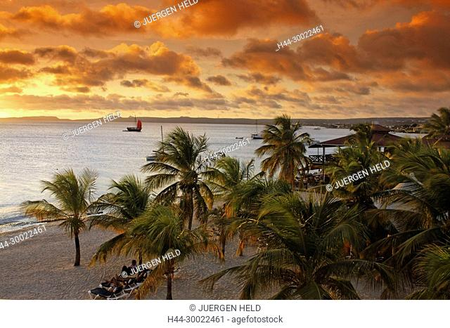 West Indies, Bonaire, sunset at Eden beach Resort
