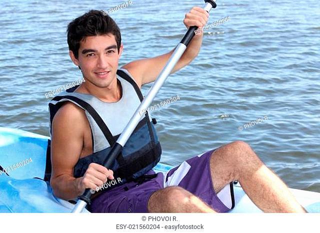 young man on a kayak
