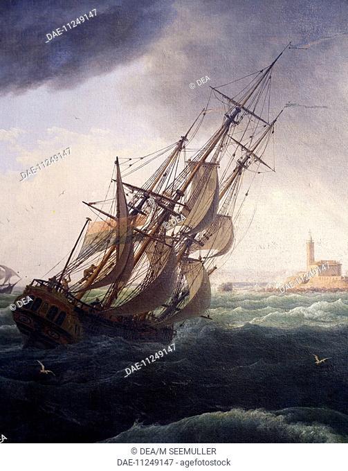 Vessel entering the port of Cette, 1757, by Claude-Joseph Vernet (1714-1789).  Paris, Musée De La Marine