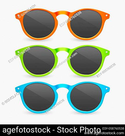 Vector 3d Realistic Plastic Orange, Green and Blue Rimmed Eye Sunglasses Closeup Isolated on White Background. Women, Men, Unisex Accessory
