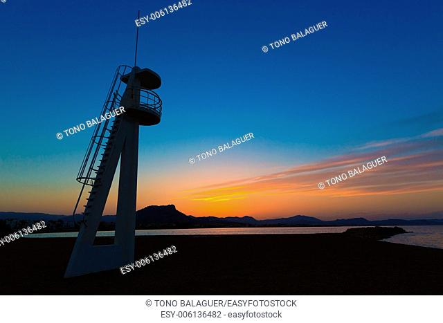 Denia Las Marinas sunset beach in Punta Molins at Alicante Mediterranean Spain