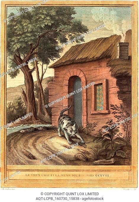 Johann Christoph Teucher after Jean-Baptiste Oudry (German, c. 1715 1763 or after ), Le vieux chat et la jeune Souris (The Old Catand the Young Mouse)