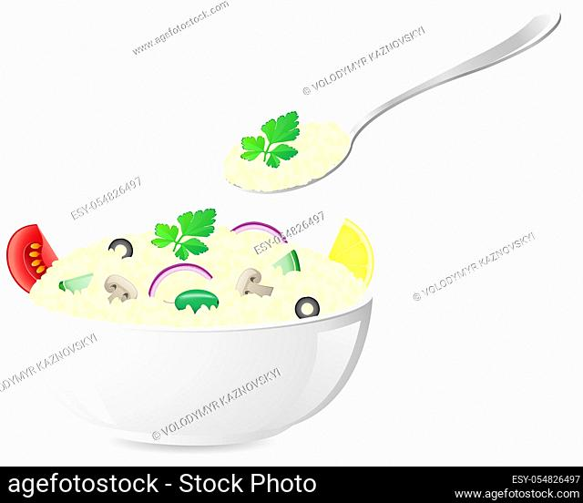 italian rice with vegetables vector illustration isolated on white background