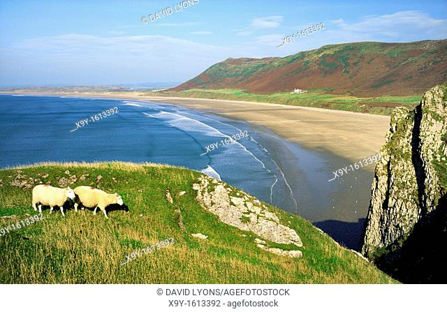 Rhossili Beach on Rhossili Bay on the Gower Peninsula, West Glamorgan, near Swansea in south Wales, UK