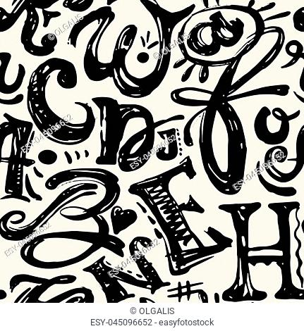 Seamless alphabet poster, dry brush ink artistic modern calligraphy print. Handdrawn trendy design with authentic and unique scrapes and scratches for a logo