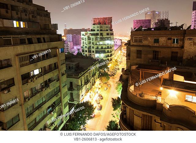 Downtown Cairo overview at night. Egypt